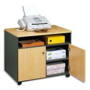 Simmob meuble photocopieur 2 portes + tablette et niche coloris hêtre anthracite