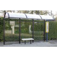 Abri bus Dome S / structure en acier / bardage en plexigas / avec banquette / 400 x 135 cm