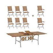 Mobilier de jardin inox et acacia 8 places mobilier de jardin en bois