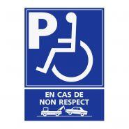 REFZ426 - Panneau stationnement handicapé - ABC signalétique - Dimensions : 5 cm à 40 cm (= largeur du support)