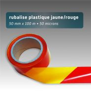 Ruban de chantier - rubalise - plastique 50mm*100m - jaune/rouge