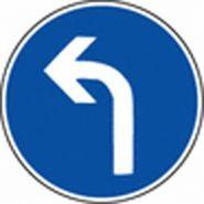Panneau de signalisation - obligation de tourner a gauche