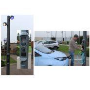 Candelabre De echarge   Bornes De Recharge Pour voiture Electrique - Technolia - Puissances de charge : • En Mode 2 : 2,4kW (10A monophasé)