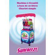 Freezy - Machine à granita professionnelle - Sunfreeze - 3 bacs avec chariot simple
