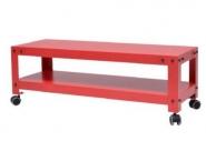 Meuble télé hifi métal à roulettes rouge dim. 100 x 35 x h35 cm
