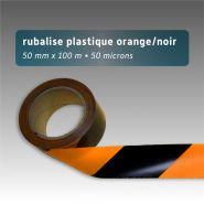 Ruban de chantier - rubalise - plastique 50mm*100m - noir/orange