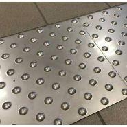 Bande d'éveil à la vigilance en inox - Direct signalétique - Dimension 412 x 600 mm-Intérieur / extérieur