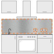 Crédence inox brossé - DVAI - Avec 2 trous rectangulaires - Épaisseur : 1,5 mm