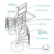 Escalier hélicoïdal Tube Lisse - L'hélicoidal - Diamètre du colonne centrale 168 mm