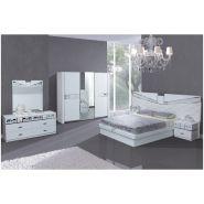 Chambre à coucher complète laqué blanc et chrome