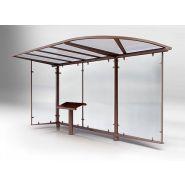 Abri bus Héritage / structure en acier / bardage en verre securit / avec banc assis-debout / 450 x 180 cm