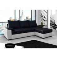 Canapé d angle convertible 4 places noir et blanc