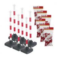 28650 - poteau de signalisation - virages - kit 6 poteaux de signalisation avec chaîne