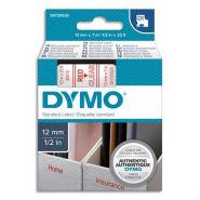 DYMO RUBAN D1 ROUGE/TRANSPARENT 12MMX7M POUR 1000/1000+/2000/3500/4500/5000/5513