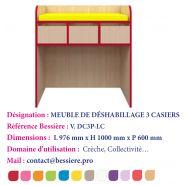 MEUBLE DE DÉSHABILLAGE 3 CASIERS AVEC PORTES