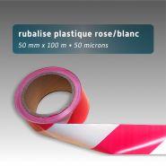 Ruban de chantier - Rubalise - plastique 50mm*100m - Rose/Blanc