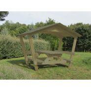Table pique nique en bois castor avec toit