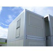 Construction modulaire Préf'aub18 / simple monobloc / structure en acier / bardage en panneau sandwich / porte / isolation thermique / 18 m²