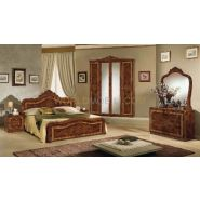 Luisa noyer, chambre a coucher complete, lit, armoire, commode, chevets, miroir.