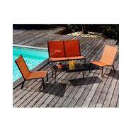 Salon de jardin alu 4 places rouille terra lounge linea fauteuils et canapé  de jardin