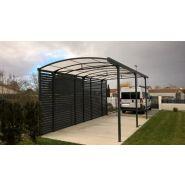 Abri camping car ouvert / structure en aluminium / toiture arrondie en plastique