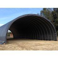 Tunnel de stockage Monastère / ouvert / structure en acier / couverture en PVC / ancrage au sol avec platine / 8 x 9 x 3.18 m