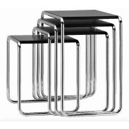 B 9 / TABLES GIGOGNES MARCEL BREUER X 4 NOIR