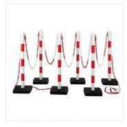 Poteau de signalisation - Direct Signaletique - Kit de 6 Poteaux PVC sur socle à lester