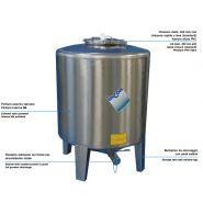 Minitank mtl - réservoir de stockage industriel - incon - puissard moulé sur le fond - pieds inox soudés