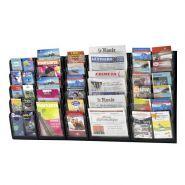 Présentoir mural pour brochure et magazine, multi-case noir - assemblable