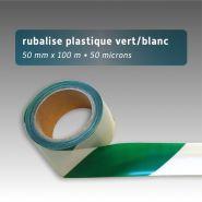 Ruban de chantier - Rubalise - plastique 50mm*100m - Vert/Blanc
