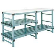 TABLES DE DÉCOUPE 160-180-200 X 60 CM, 2/3 NIVEAUX, DESSUS PE BLANC 2 CM