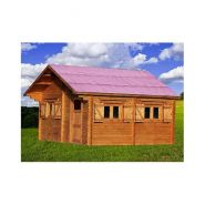 Chalet en bois plain-pied / madrier 60 mm / 26.58 m² / toit double pente
