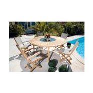 Salon rond teck brehat mobilier de jardin en bois