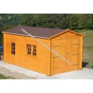 Garage simple bois corete 22 / 22 m² / toit double pente / porte battante / 3.98 x 5.48 x 2.90 m