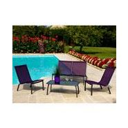 Salon de jardin alu 4 places royal grey cassis lounge linea ...