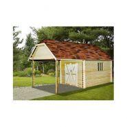 Garage avec carport bois / 10,85 m² / toit double pente / porte battante / 3.55 x 6.50 x 3.41 m