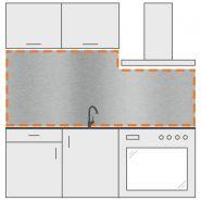 Crédence inox brossé - DVAI - Avec découpe à droite - Épaisseur : 1,5 mm