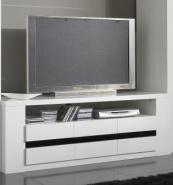 Meuble tv design laqué blanc et noir adriana