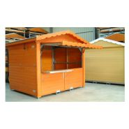 Chalet en bois pliable / 7.68 m² / modulaire / toit double pente