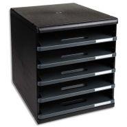 Exacompta module de classement 5 tiroirs ouverts, format a4 +. dim: l28,8 x h32 x p35 cm. coloris noir
