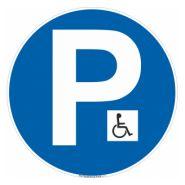 SOG0514 - Panneau place handicapé - TOUTELASIGNALETIQUE.COM - Diamètre 180mm