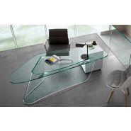graph - Bureaux domestiques - Fiam Italia - En verre transparent cintré de 19 mm
