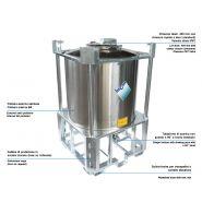 Standard ph - réservoir de stockage industriel - incon - fond bombé avec bride centrale et tuyau avec une coude à 90°