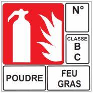 AUTOCOLLANT EXTINCTEUR POUDURE FEUX GRAS CLASSE B C