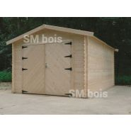 Garage simple métal / 16.2 m² / toit double pente / porte battante / 3.58 x 5.08 m