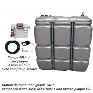 STATION GASOIL 1500 L AVEC POMPE 60L/MIN 230 V - CFPE1500-PP60L