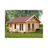 Chalet en bois plain-pied / madrier 45 mm / 23.52 m² / toit double pente