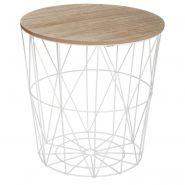 TABLE D'APPOINT DESIGN KUMI 41CM BLANC - PARIS PRIX