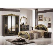 Laura noir et dore, chambre a coucher complete, lit, armoire, commode, chevets, miroir.